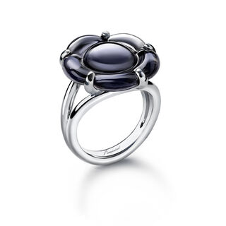 B FLOWER RING, Black mordore