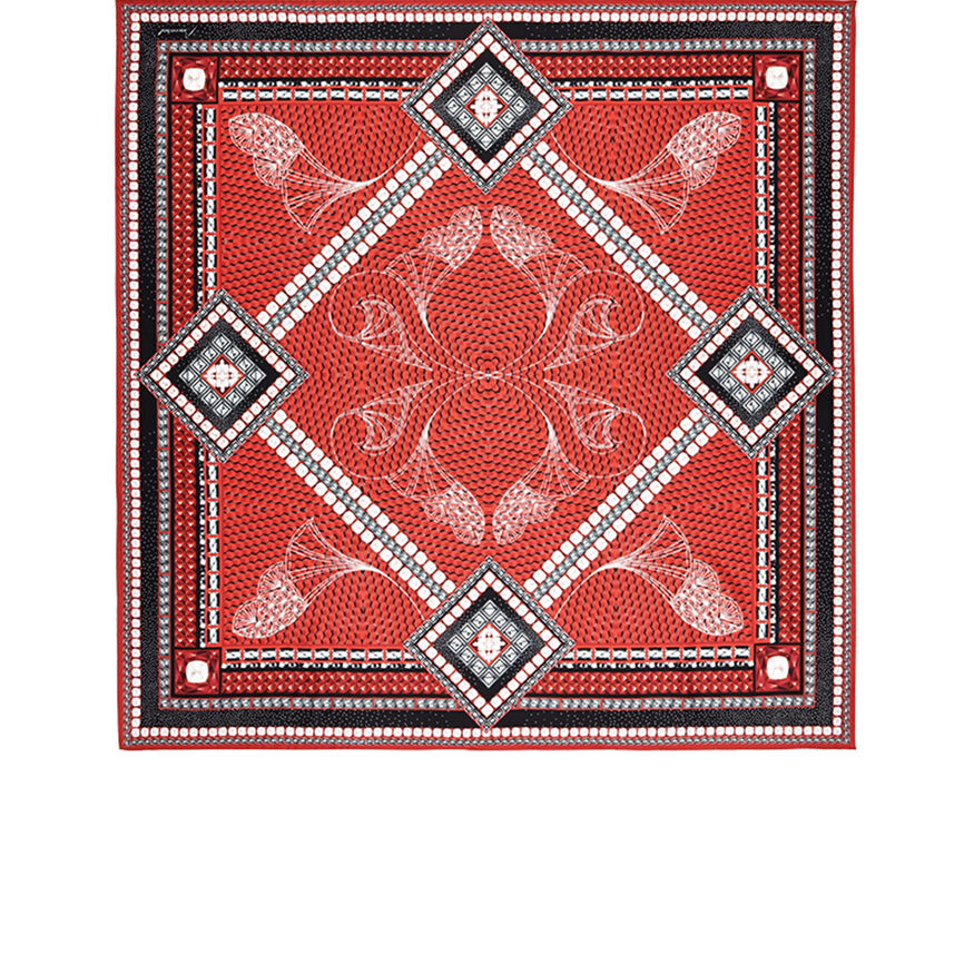 LOUXOR SILK TWILL SCARF  Red - 1